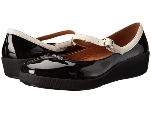 FitFlop - F-Pop Maryjane Patent (Black/White) Women's Shoes