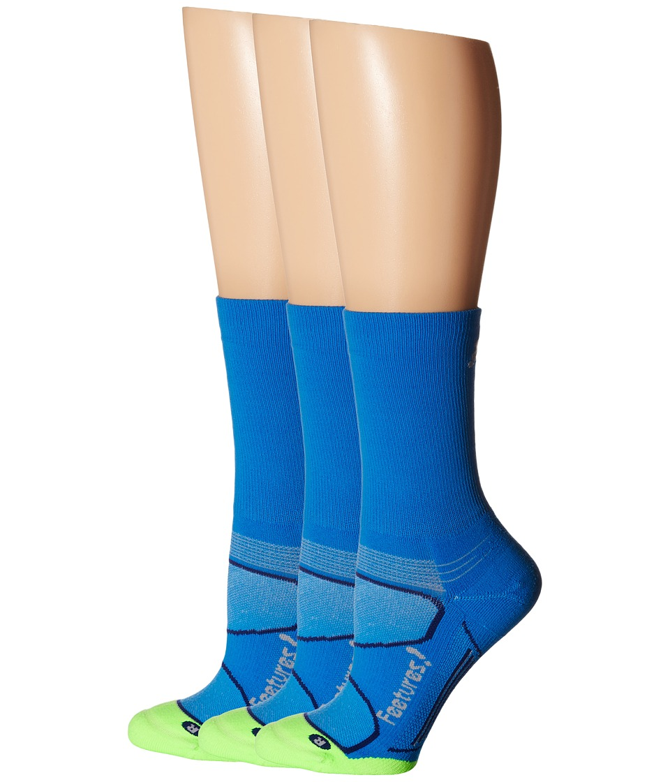 Feetures - Elite Light Cushion Mini Crew 3-Pair Pack (Brillant Blue/Silver) Crew Cut Socks Shoes