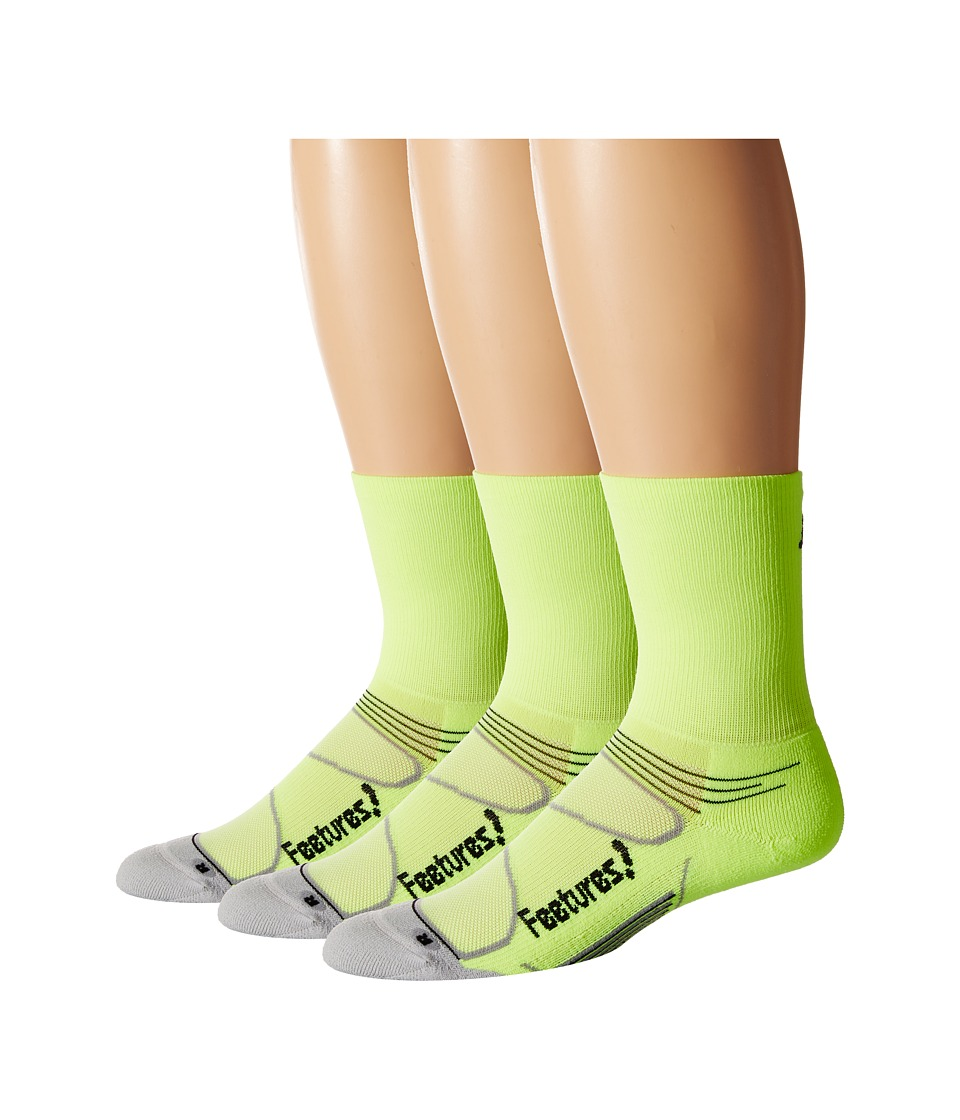 Feetures - Elite Light Cushion Mini Crew 3-Pair Pack (Reflector/Black) Crew Cut Socks Shoes