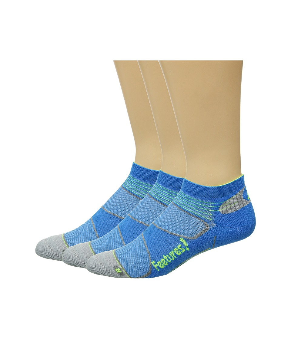 Feetures - Elite Light Cushion Low Cut 3-Pair Pack (Brillant Blue/Reflector) Low Cut Socks Shoes
