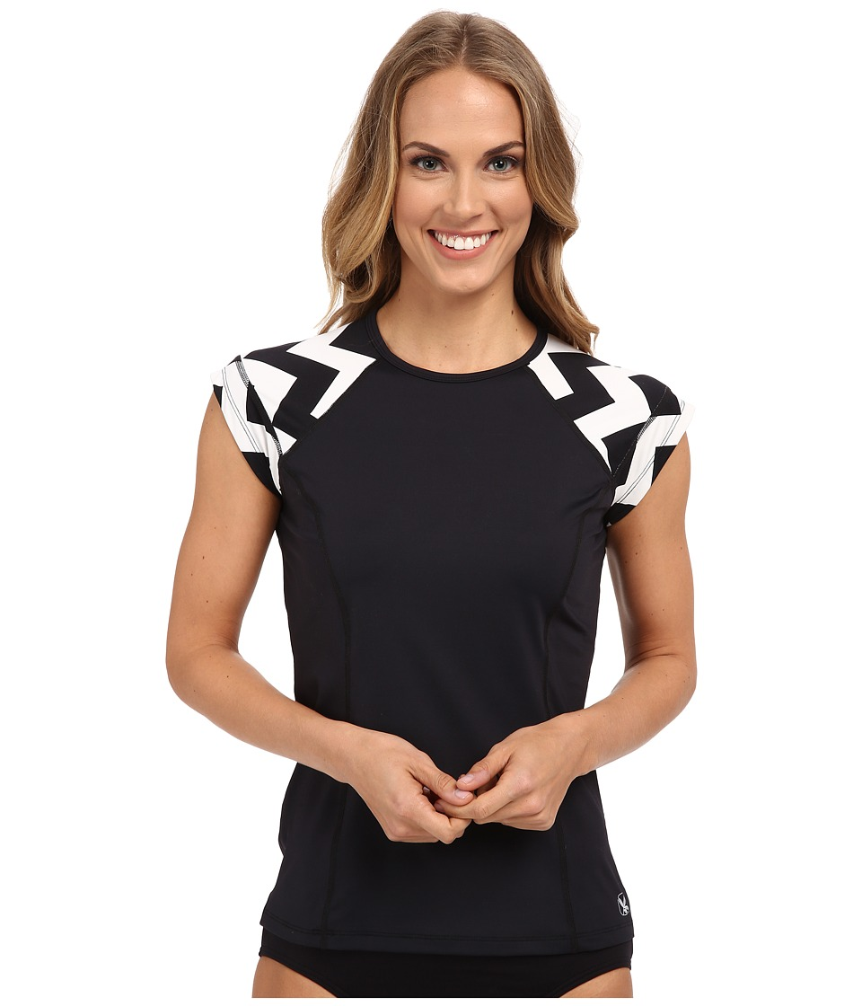 Carve Designs Belles Beach Rashguard (Black/Chevron) Women