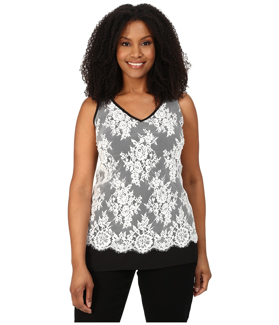 Karen Kane Plus - Plus Size Lace Overlay Tank Top (Cream/Black) Women's Sleeveless