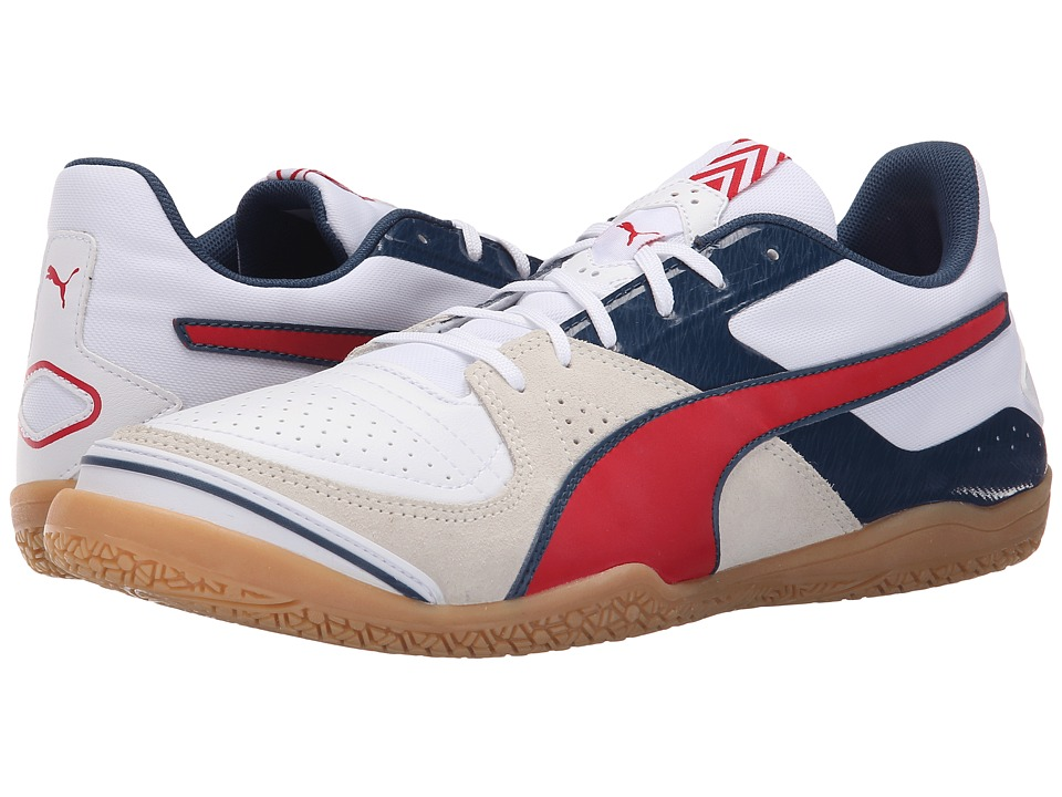 PUMA - Invicto Sala (White/High Risk Red/Blue Wing Teal) Men's Soccer Shoes
