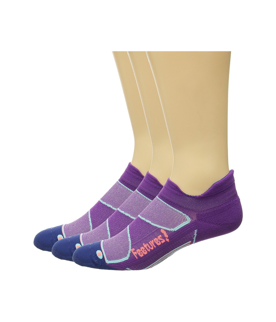Feetures - Elite Light Cushion No Show Tab 3-Pair Pack (Ultraviolet/Coral) No Show Socks Shoes