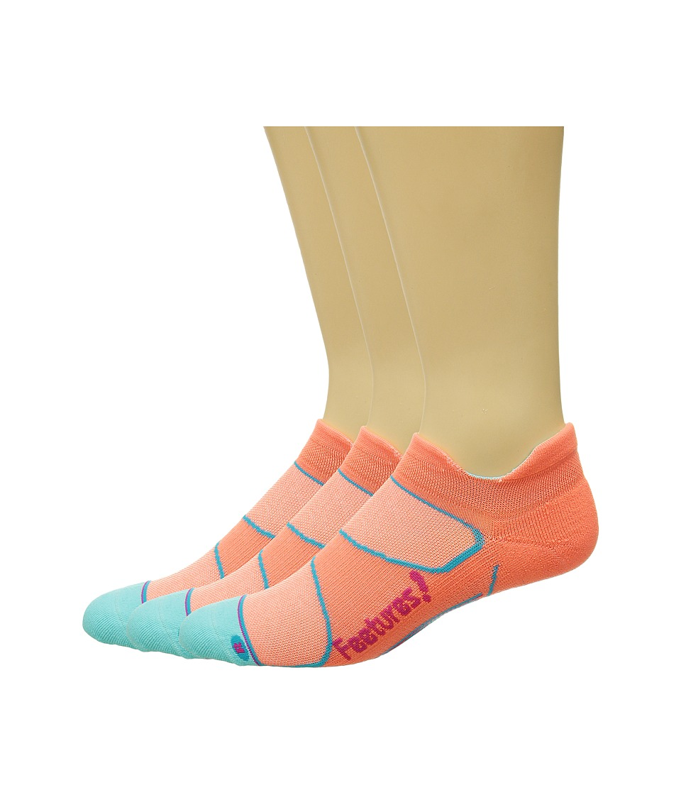 Feetures - Elite Light Cushion No Show Tab 3-Pair Pack (Coral/Deep Pink) No Show Socks Shoes
