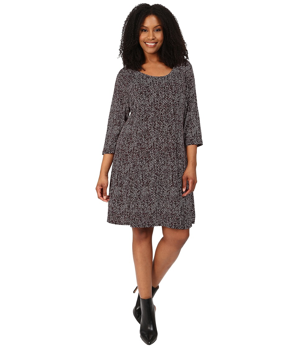 Karen Kane Plus - Plus Size 3/4 Sleeve Chevron Print Dress (Print) Women's Dress