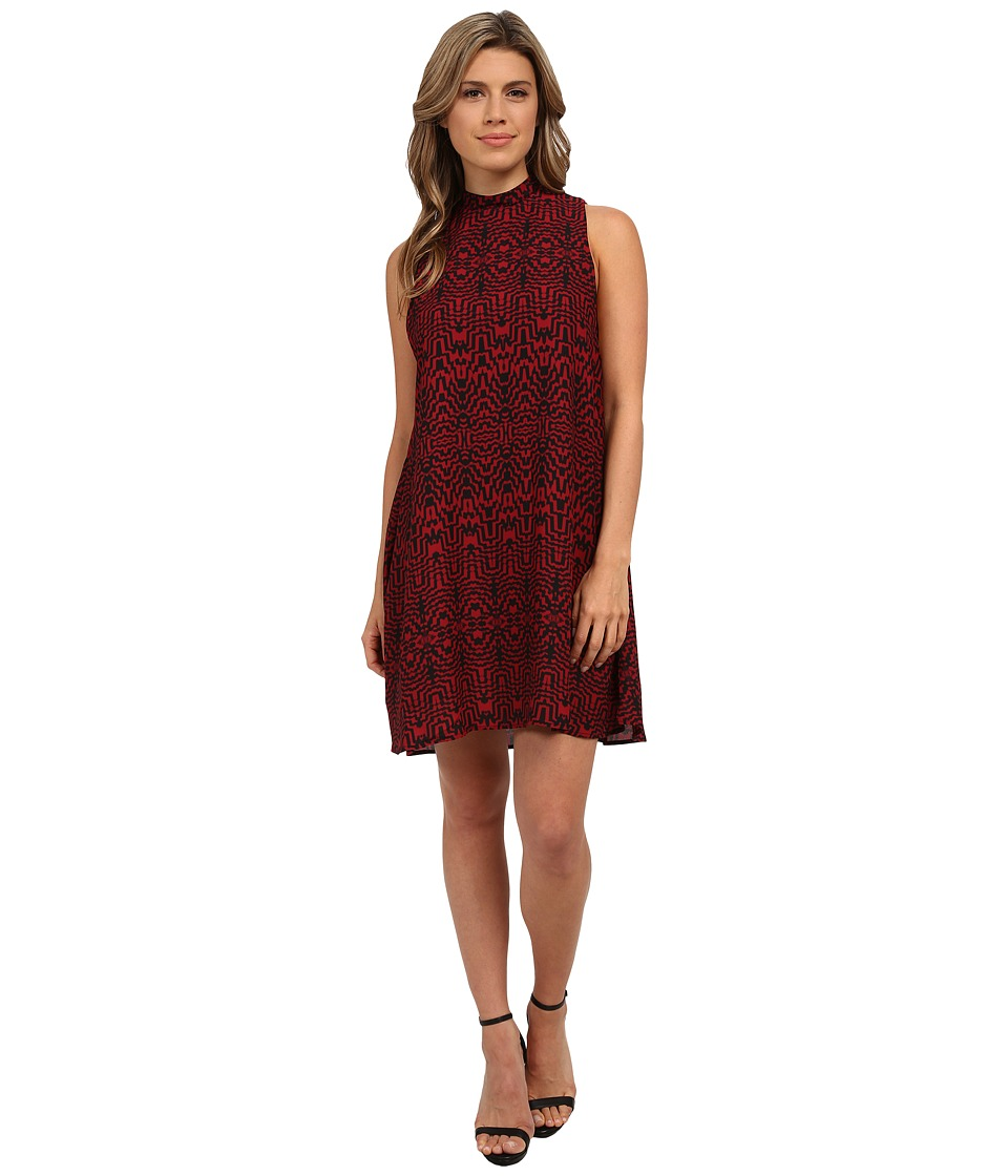 BB Dakota Skyla Siesmic Print Mock Neck Dress (Bordeaux) Women