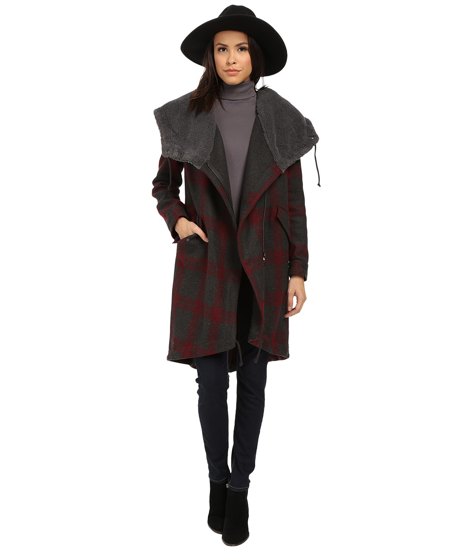 BB Dakota - Arrington Plaid Coat and Wubby Lined Hood (Grey) Women's Coat
