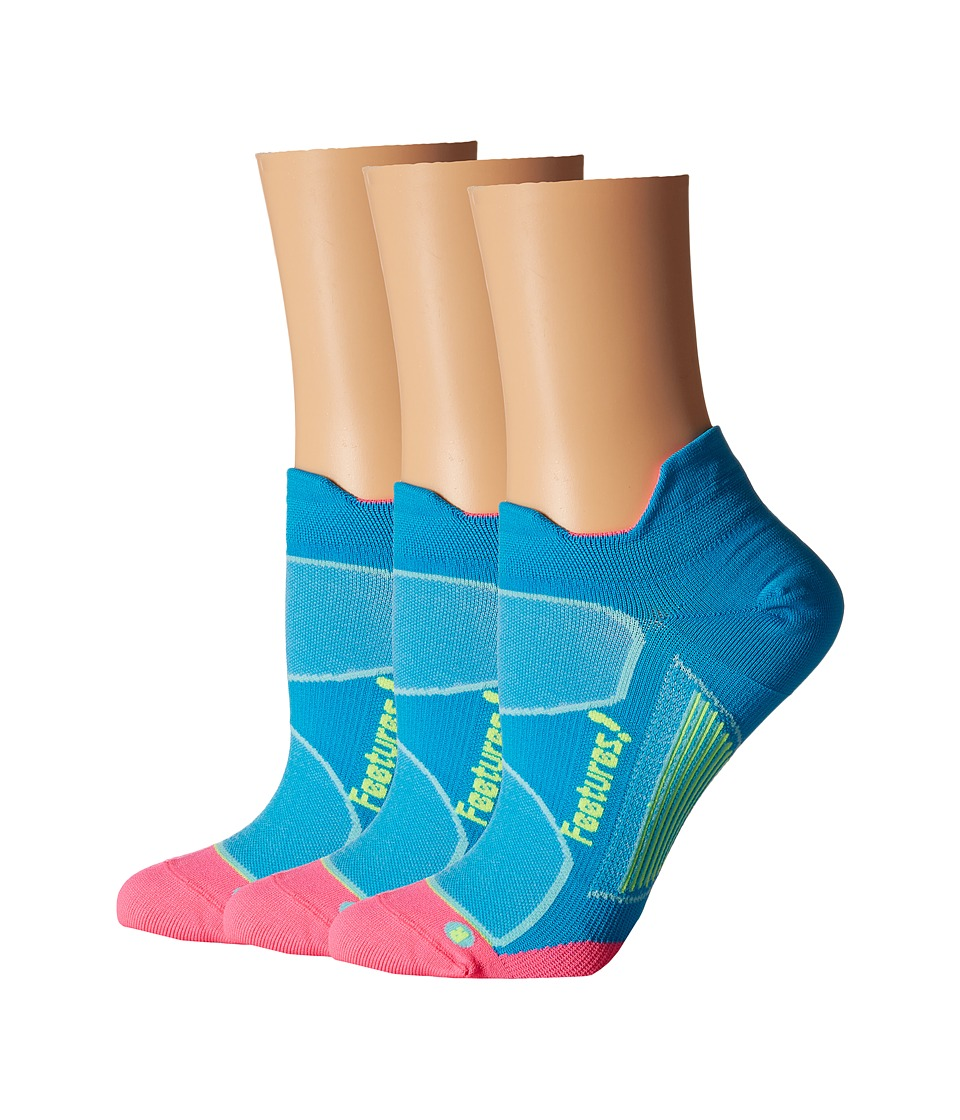 Feetures - Elite Ultra Light No Show Tab 3-Pair Pack (Hawaiian Blue/Reflector) No Show Socks Shoes