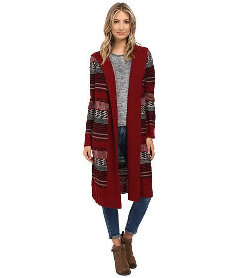 BB Dakota - Kaiden Hooded Pattern Cardigan (Bordeaux) Women's Sweater