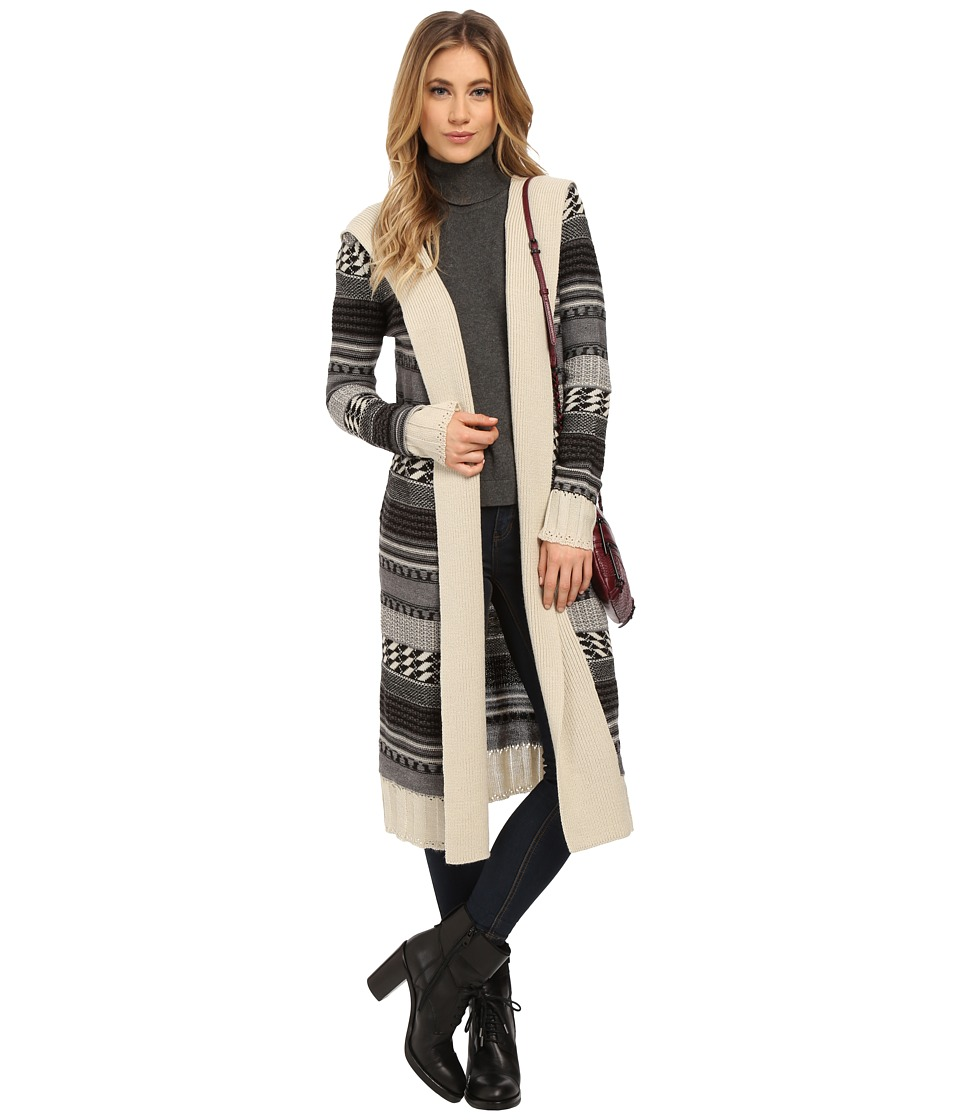 BB Dakota - Kaiden Hooded Pattern Cardigan (Oatmeal) Women