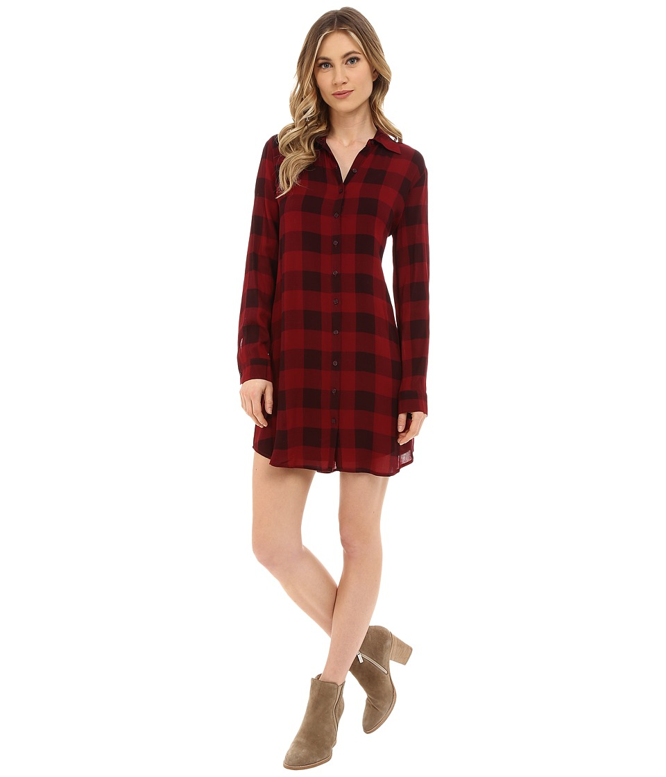 BB Dakota - Kendrick Plaid Printed Rayon Dress (Bordeaux) Women's Dress