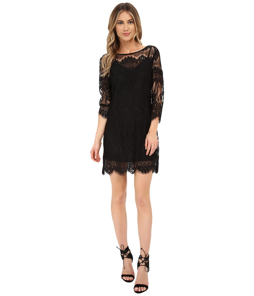 BB Dakota - Natalia V-Back Lace Dress (Black) Women's Dress