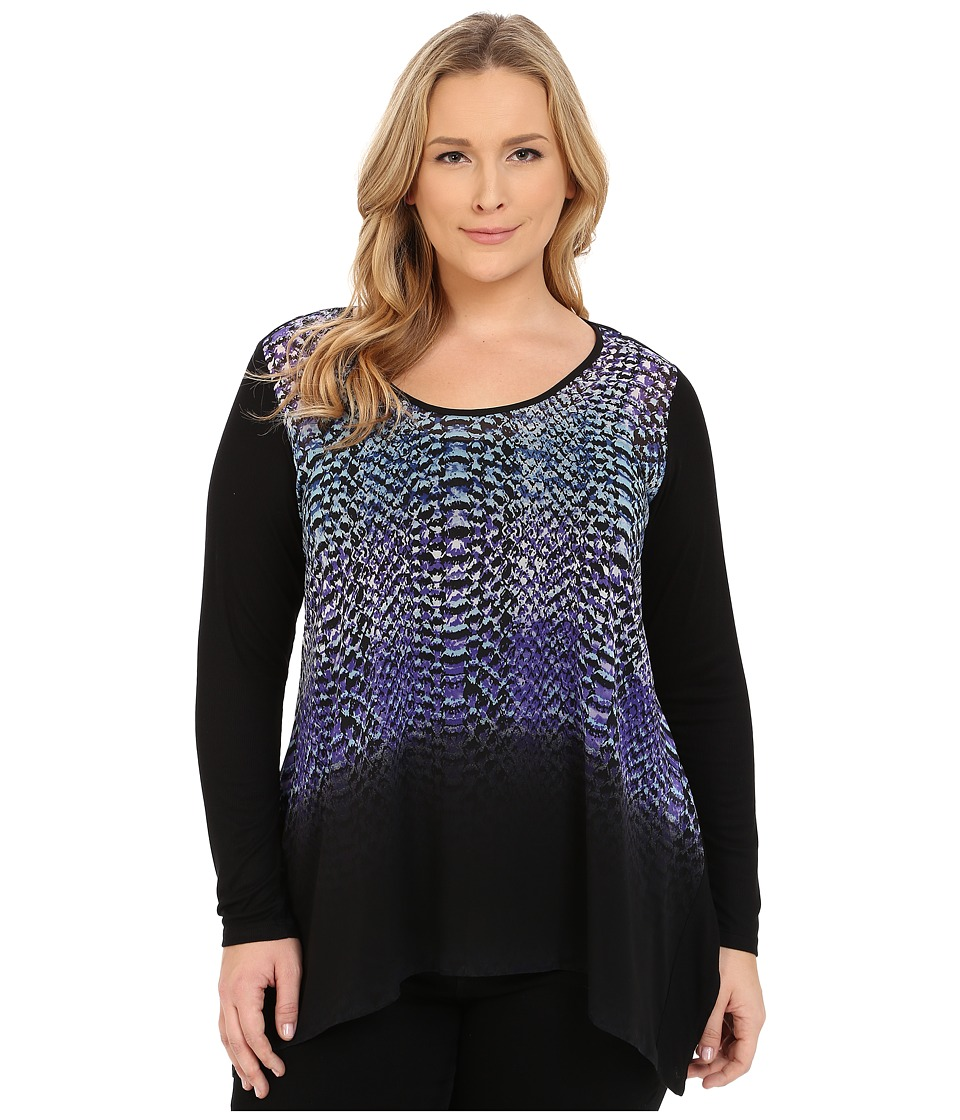 Karen Kane Plus - Plus Size Polar Stripe Handkerchief Top (Print) Women's Clothing