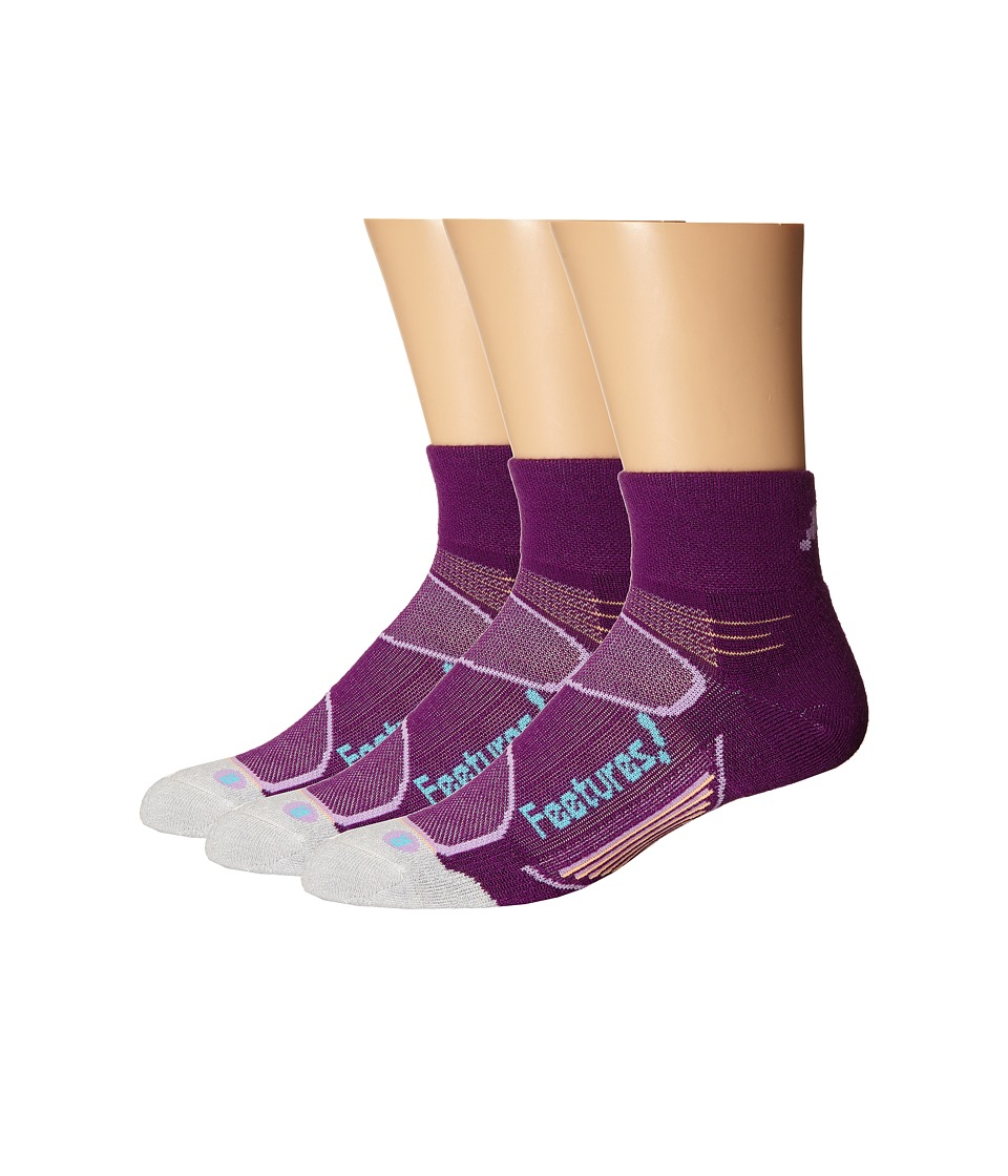 Feetures - Elite Merino+ Light Cushion Quarter 3-Pair Pack (Ultraviolet/Sky Blue) Quarter Length Socks Shoes
