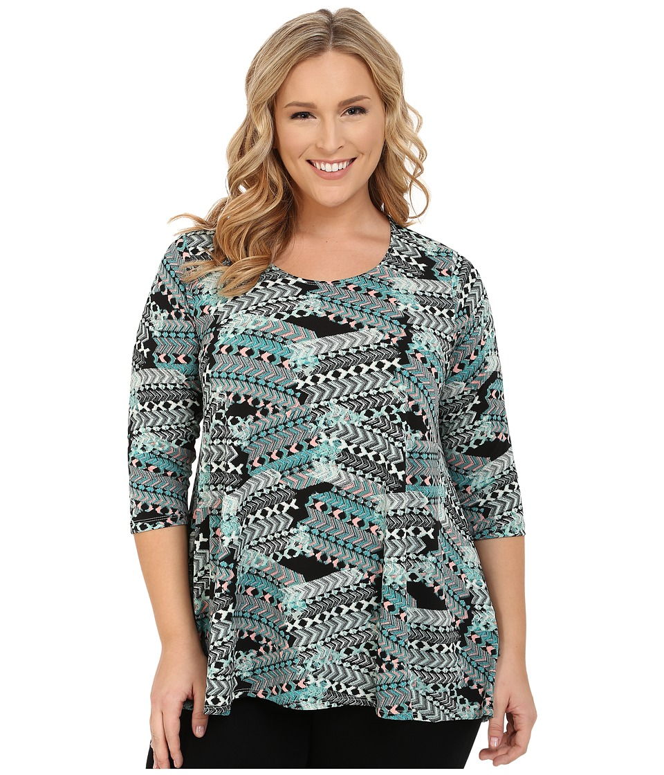 Karen Kane Plus - Plus Size 3/4 Sleeve Hi-Lo Tunic (Multi) Women's Blouse