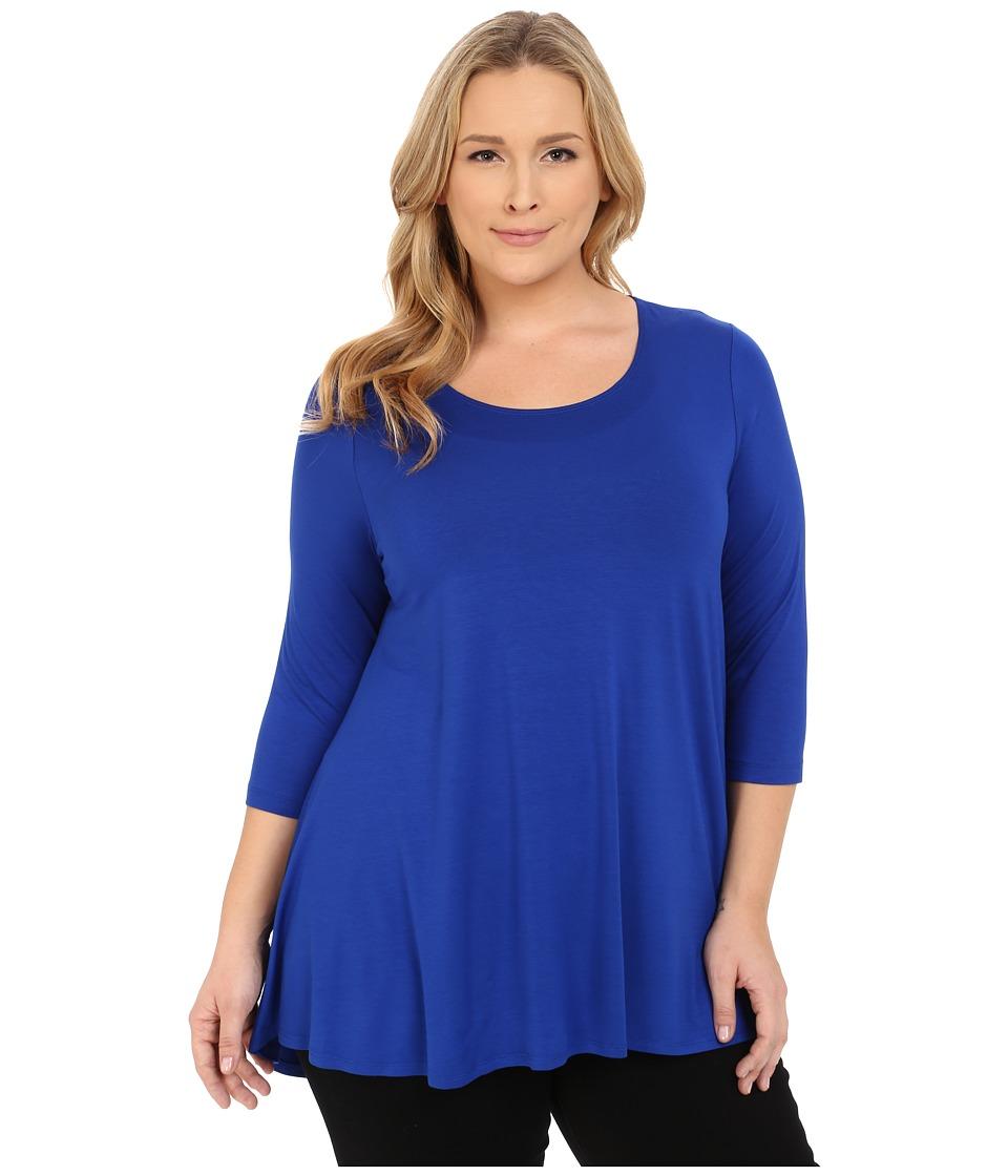 Karen Kane Plus - Plus Size 3/4 Sleeve Hi-Lo Tunic (Ocean) Women's Blouse