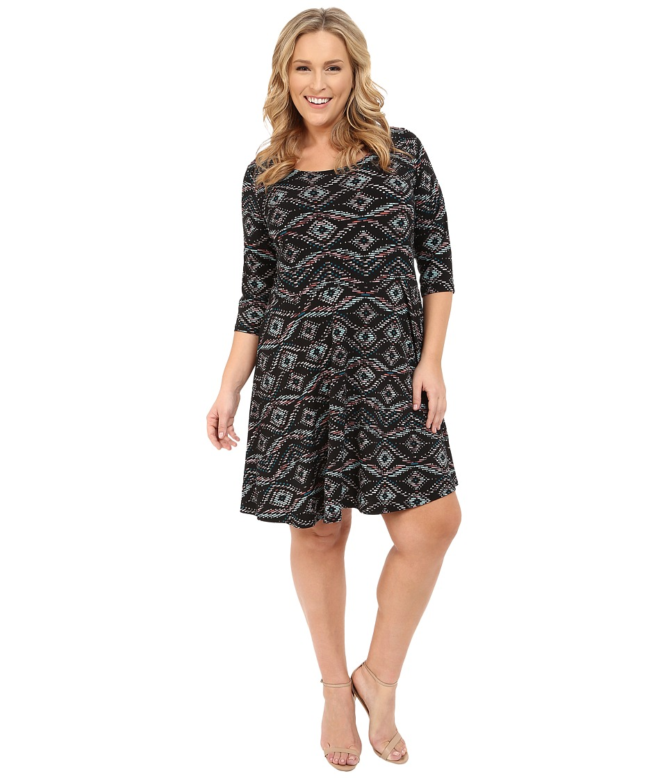 Karen Kane Plus - Plus Size 3/4 Sleeve Back Keyhole Print Dress (Print) Women's Dress