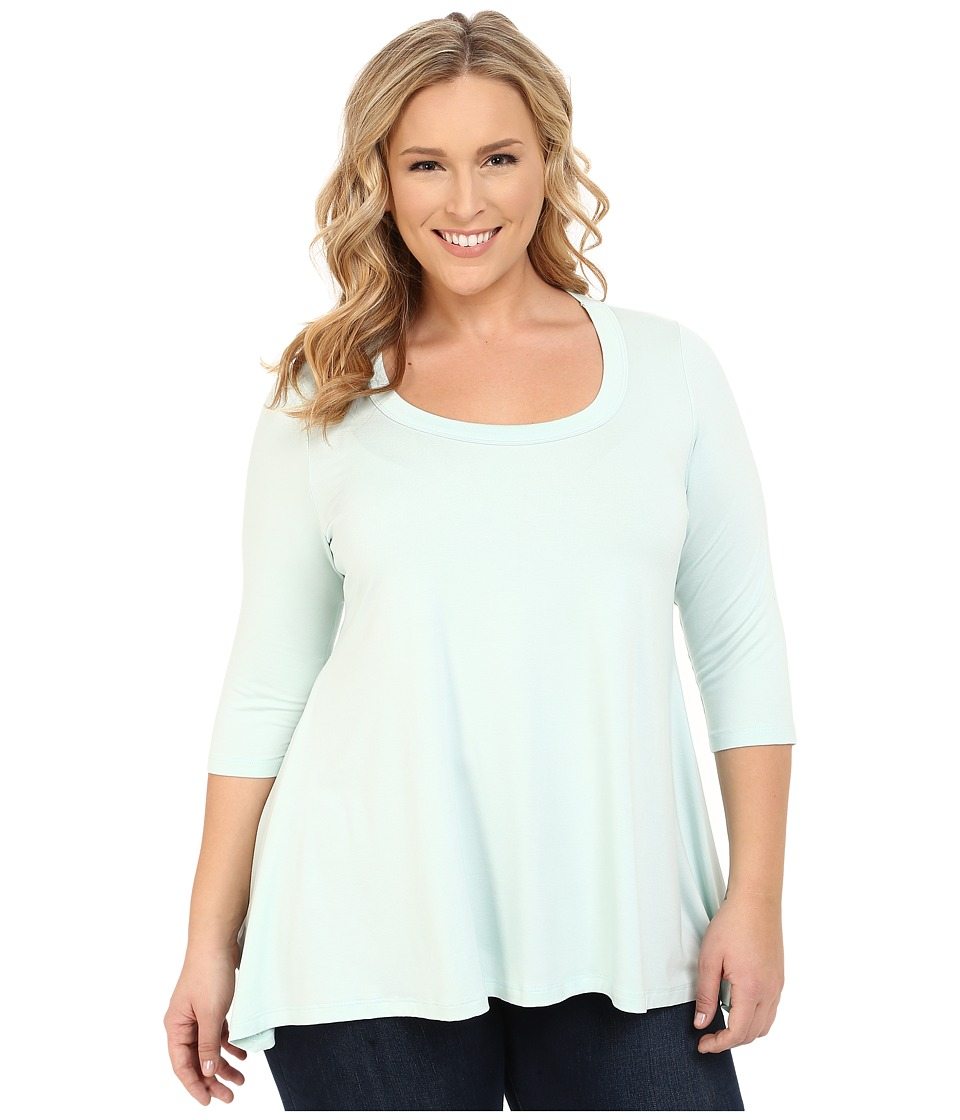 Karen Kane Plus - Plus Size 3/4 Sleeve Handkerchief Top (Seafoam) Women's Clothing plus size,  plus size fashion plus size appare