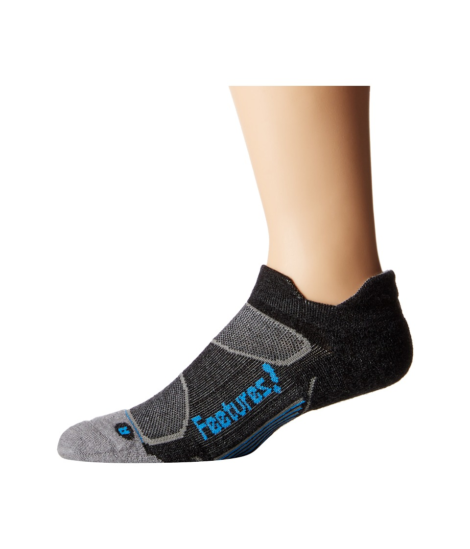 Feetures - Elite Merino+ Light Cushion No Show Tab 3-Pair Pack (Charcoal/Brilliant Blue) No Show Socks Shoes