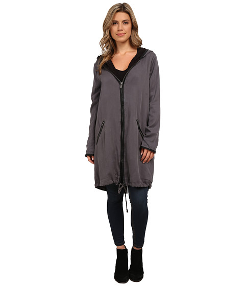 BB Dakota - Irina Tencel Coat and Brushed Fleece Lining with PU Trim (Dark Grey) Women's Clothing