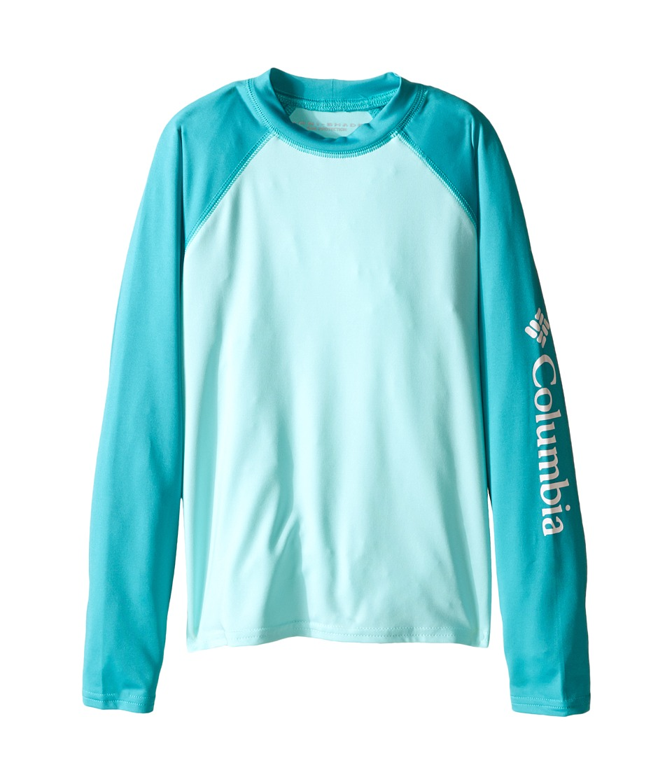 Columbia Kids - Mini Breaker Long Sleeve Rashguard (Little Kids/Big Kids) (Ocean Water/Miami/White) Girl's Long Sleeve Pullover