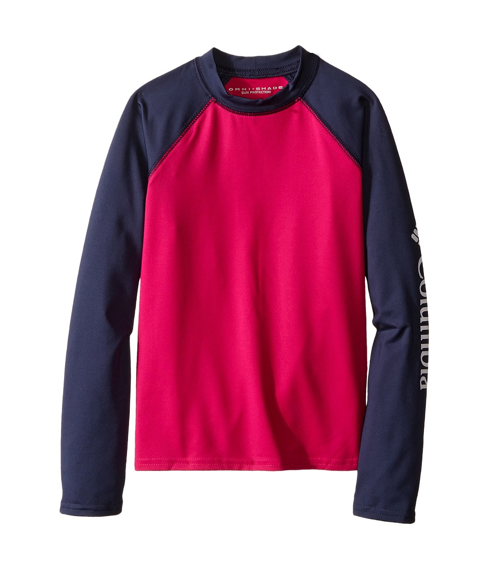Columbia Kids - Mini Breaker Long Sleeve Rashguard (Little Kids/Big Kids) (Haute Pink/Nocturnal/White) Girl's Long Sleeve Pullover