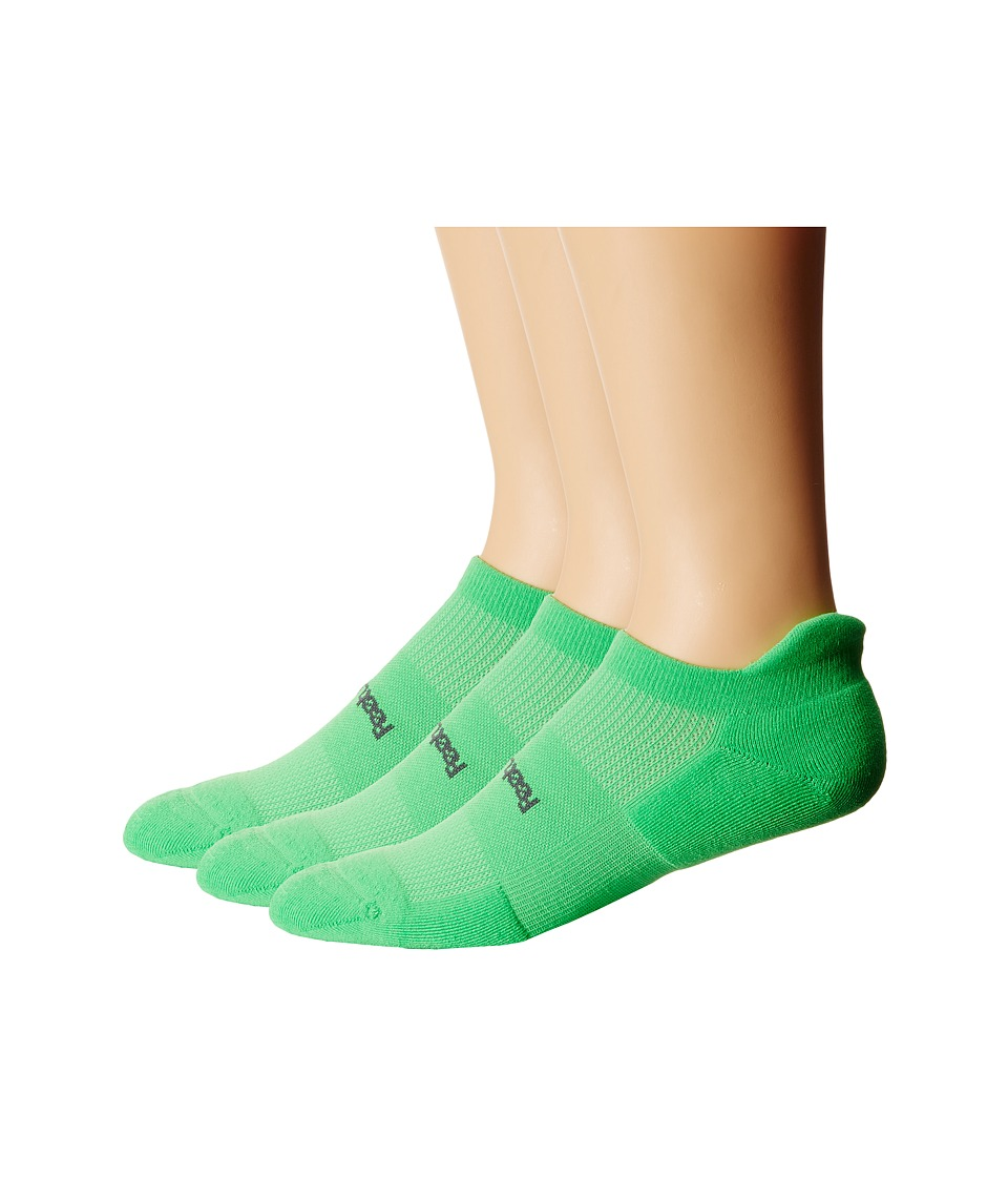 Feetures - High Performance Light Cushion No Show Tab 3-Pair Pack (Electric Green) No Show Socks Shoes