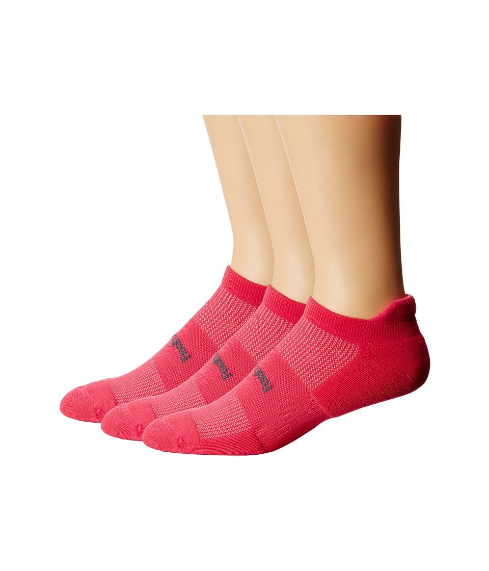 Feetures - High Performance Light Cushion No Show Tab 3-Pair Pack (Deep Pink) No Show Socks Shoes