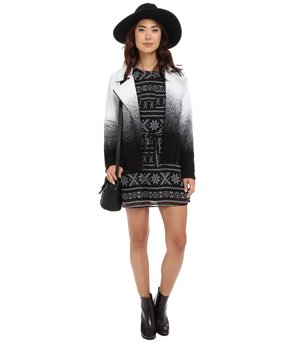 BB Dakota - Bell Ombre Moto Jacket (White) Women's Coat