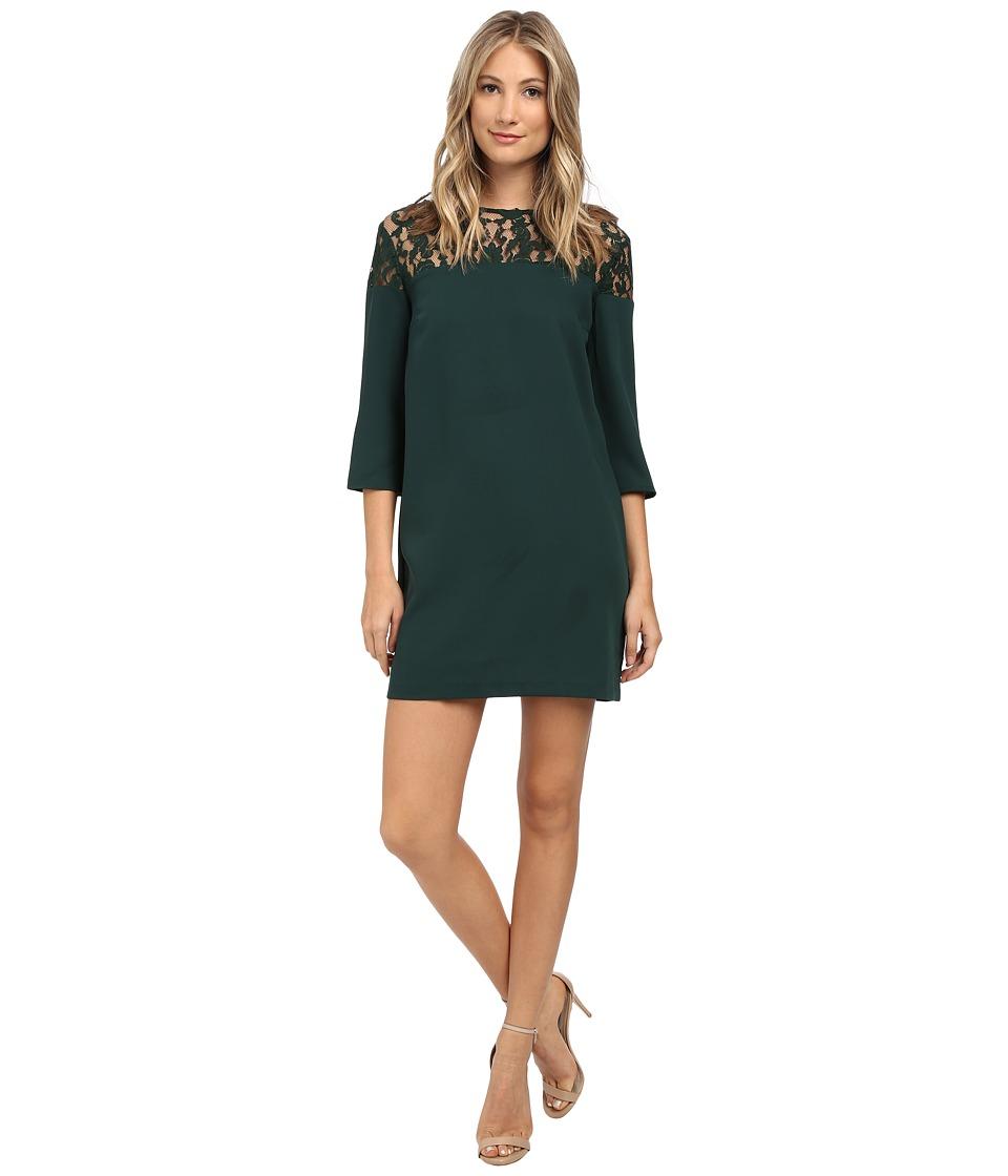 BB Dakota - Keagan Lace Yoke Heavy Crepe Dress (Hunter) Women's Dress