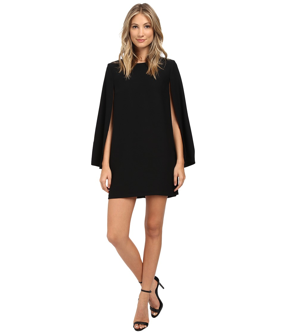 BB Dakota - Gretchen Satin Back Crepe Cape Dress (Black) Women's Dress