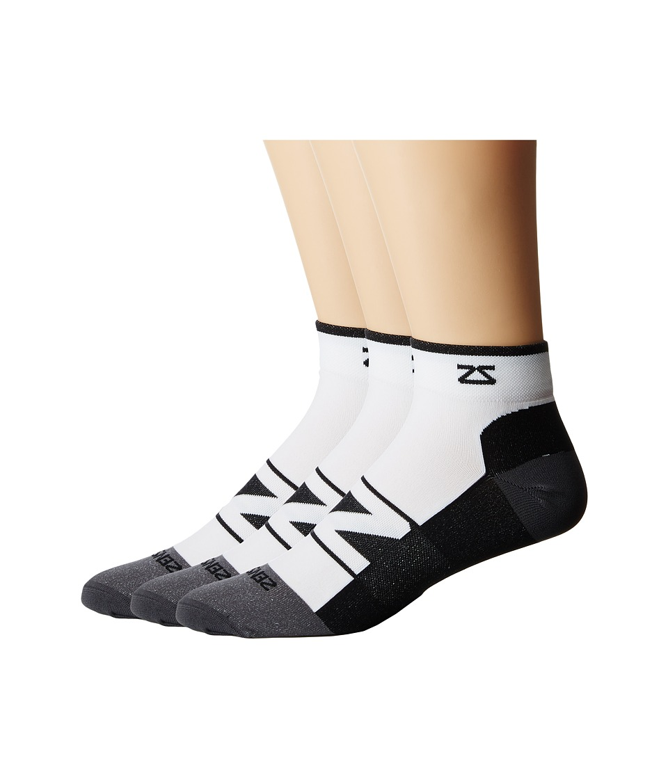 Zensah - Peek Running Sock 3-Pack (White/Black) No Show Socks Shoes