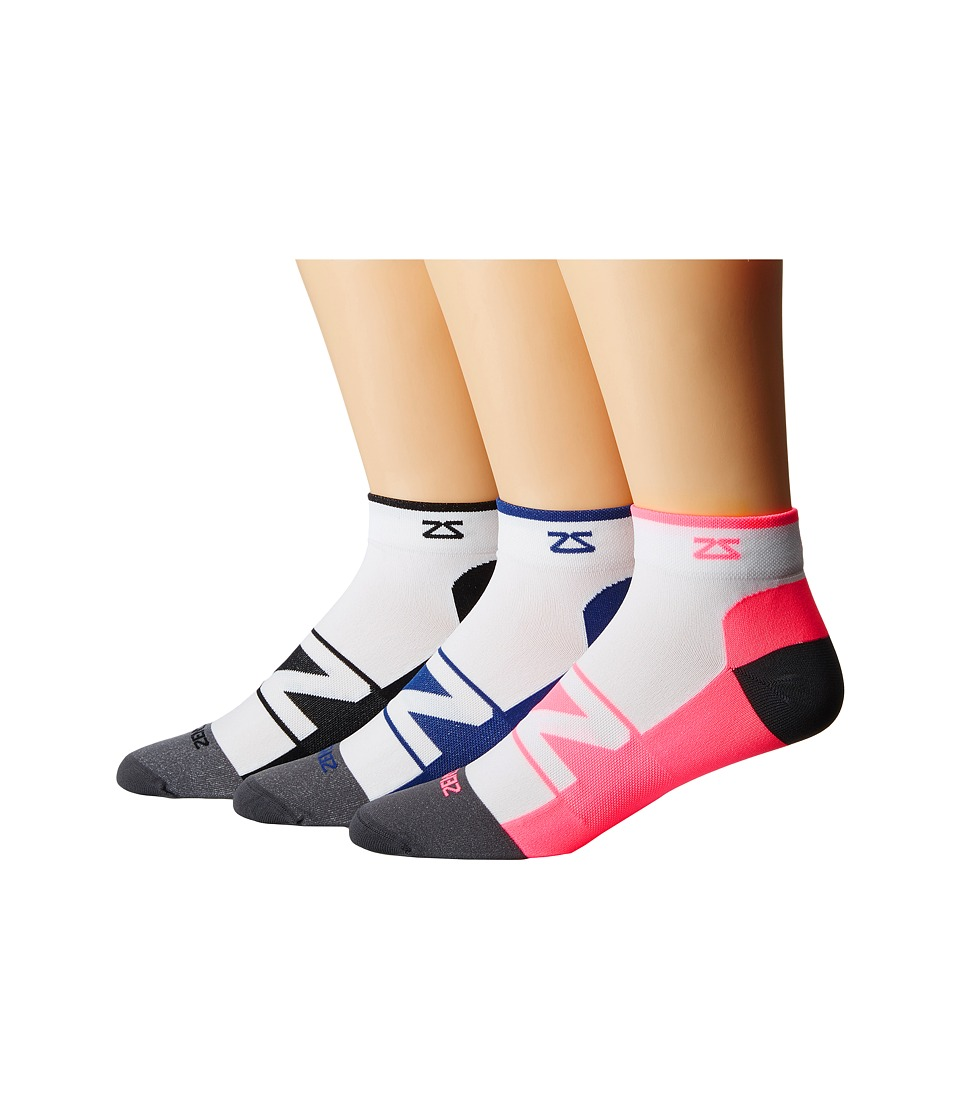 Zensah - Peek Running Sock 3-Pack (White/Black/White/Neon Pink/White/Navy) No Show Socks Shoes