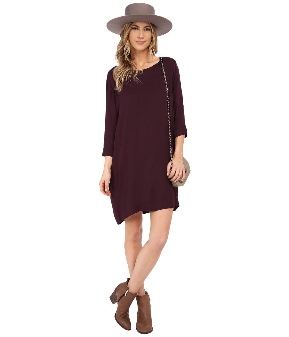 BB Dakota - Colletta Rayon Twill Dress and Rayon Jersey Lining (Blackberry) Women's Dress