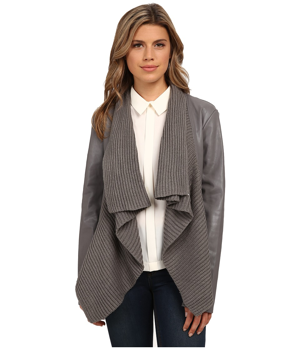 BB Dakota - Sarafina PU Jacket with Sweater Knit Drape Front (Charcoal) Women's Coat