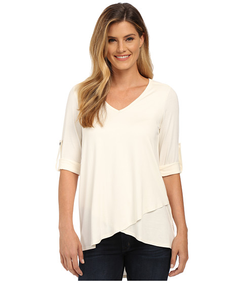 Karen Kane - Roll Tab Asymmetrical Hem Wrap Top (Cream) Women
