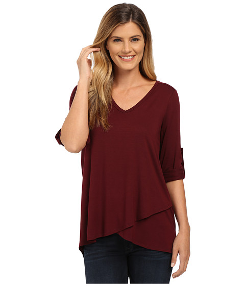 Karen Kane - Roll Tab Asymmetrical Hem Wrap Top (Wine) Women