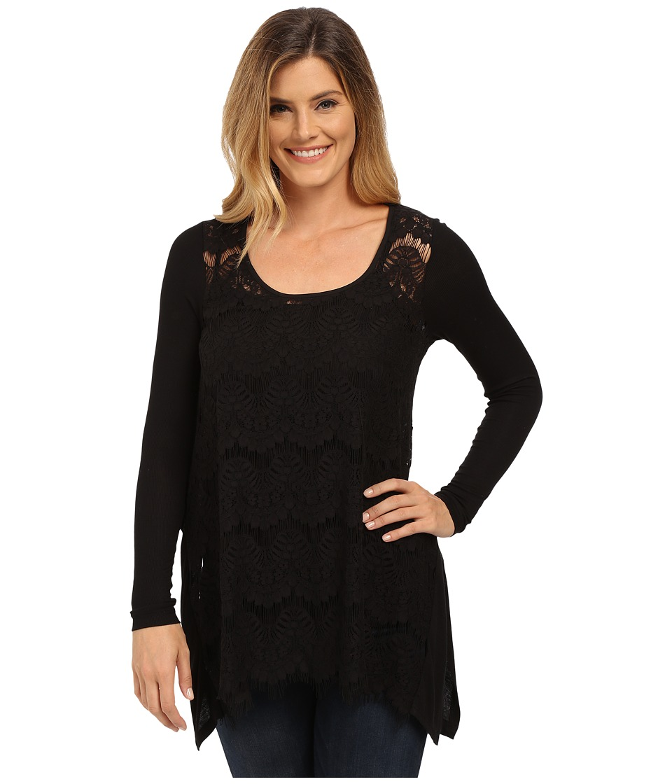 Karen Kane - Lace Front Long Sleeve Top (Black) Women's Clothing