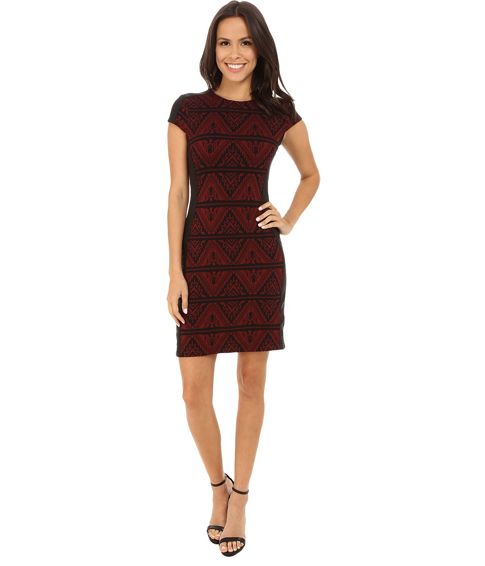 Karen Kane Knit Jacquard Contrast Dress (Wine/Black) Women