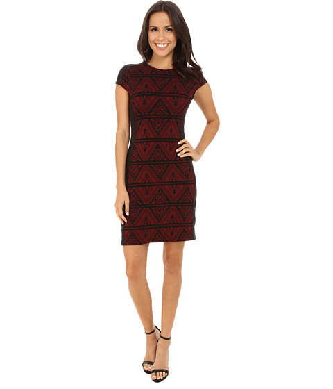 Karen Kane - Knit Jacquard Contrast Dress (Wine/Black) Women's Dress