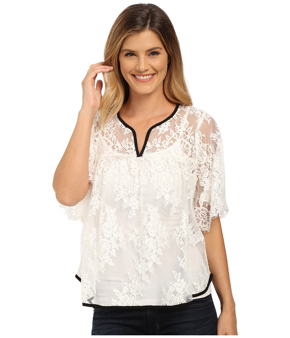 Karen Kane - Split-Placket Lace Top (Cream) Women's Clothing