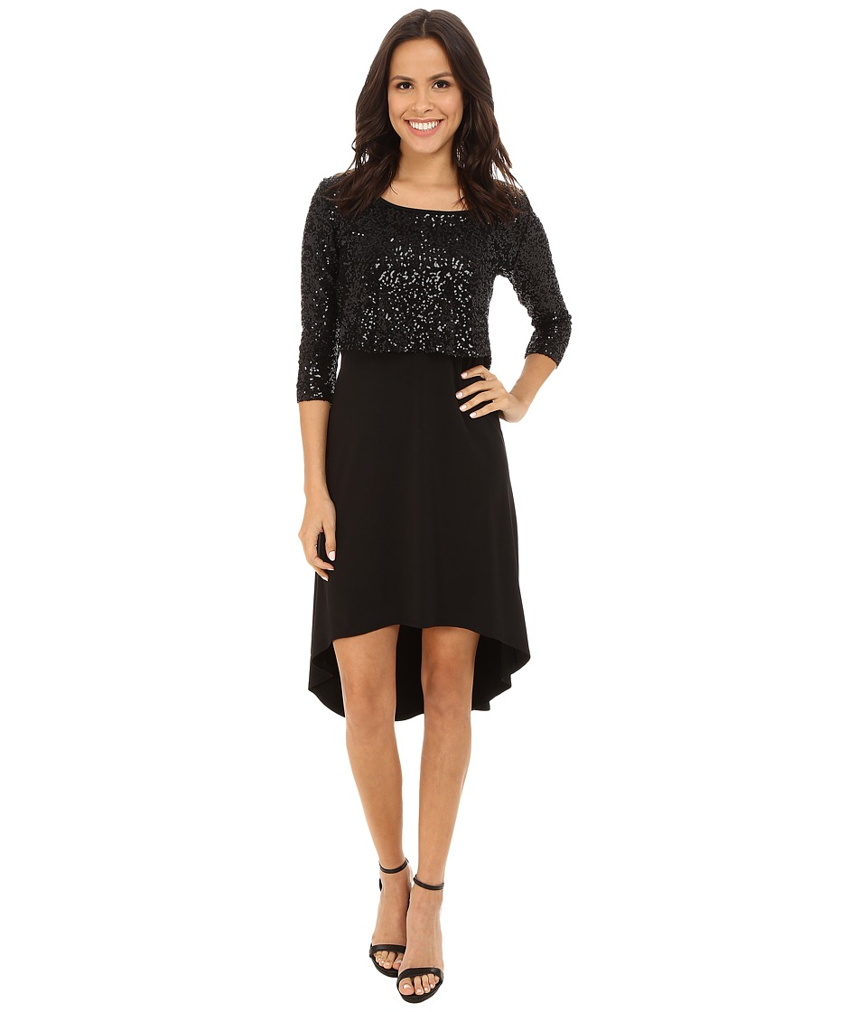 Karen Kane - Sequin Top Hi-Lo Dress (Black) Women's Dress