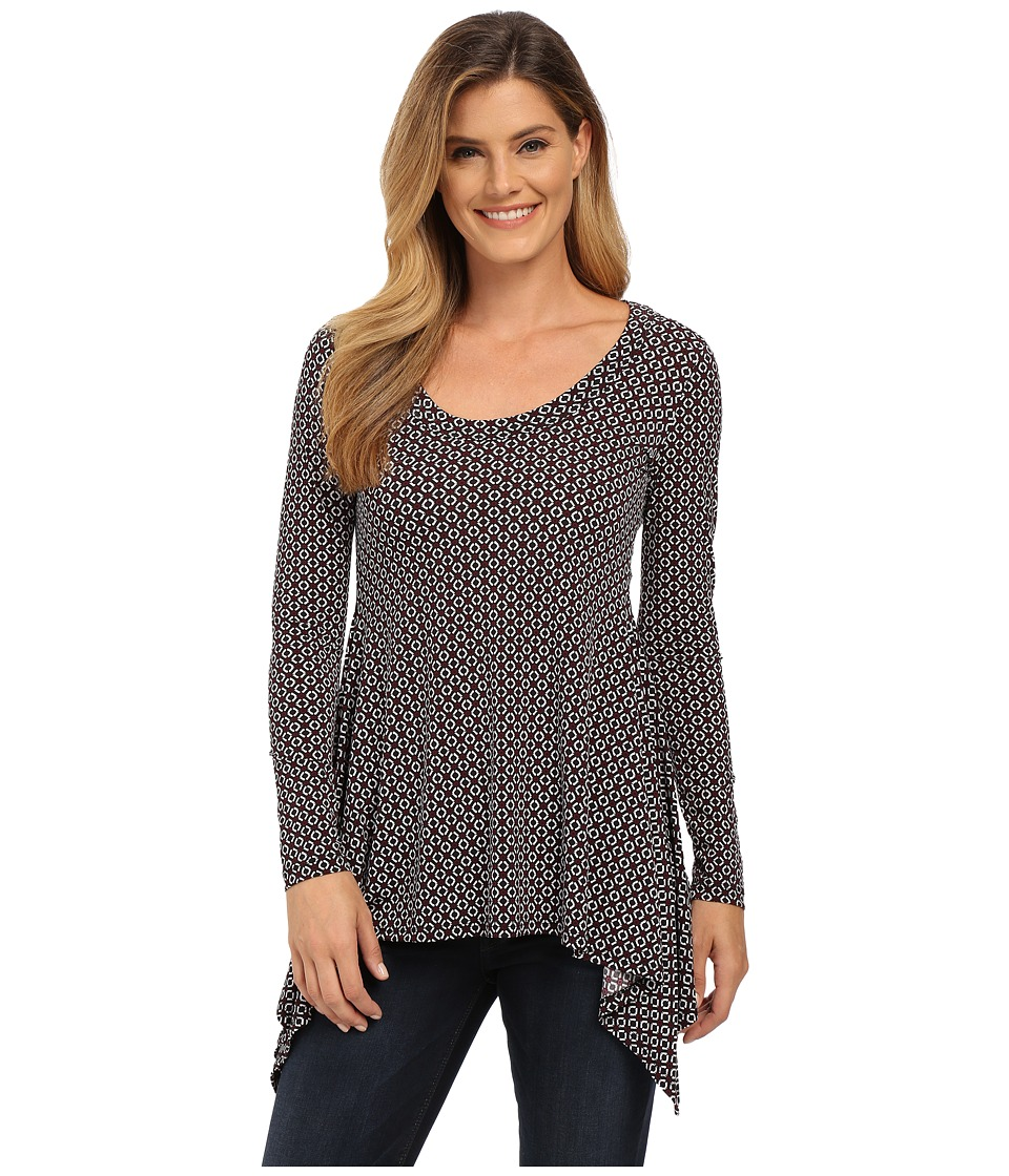 Karen Kane - Long Sleeve Handkerchief Top (Print) Women's Clothing