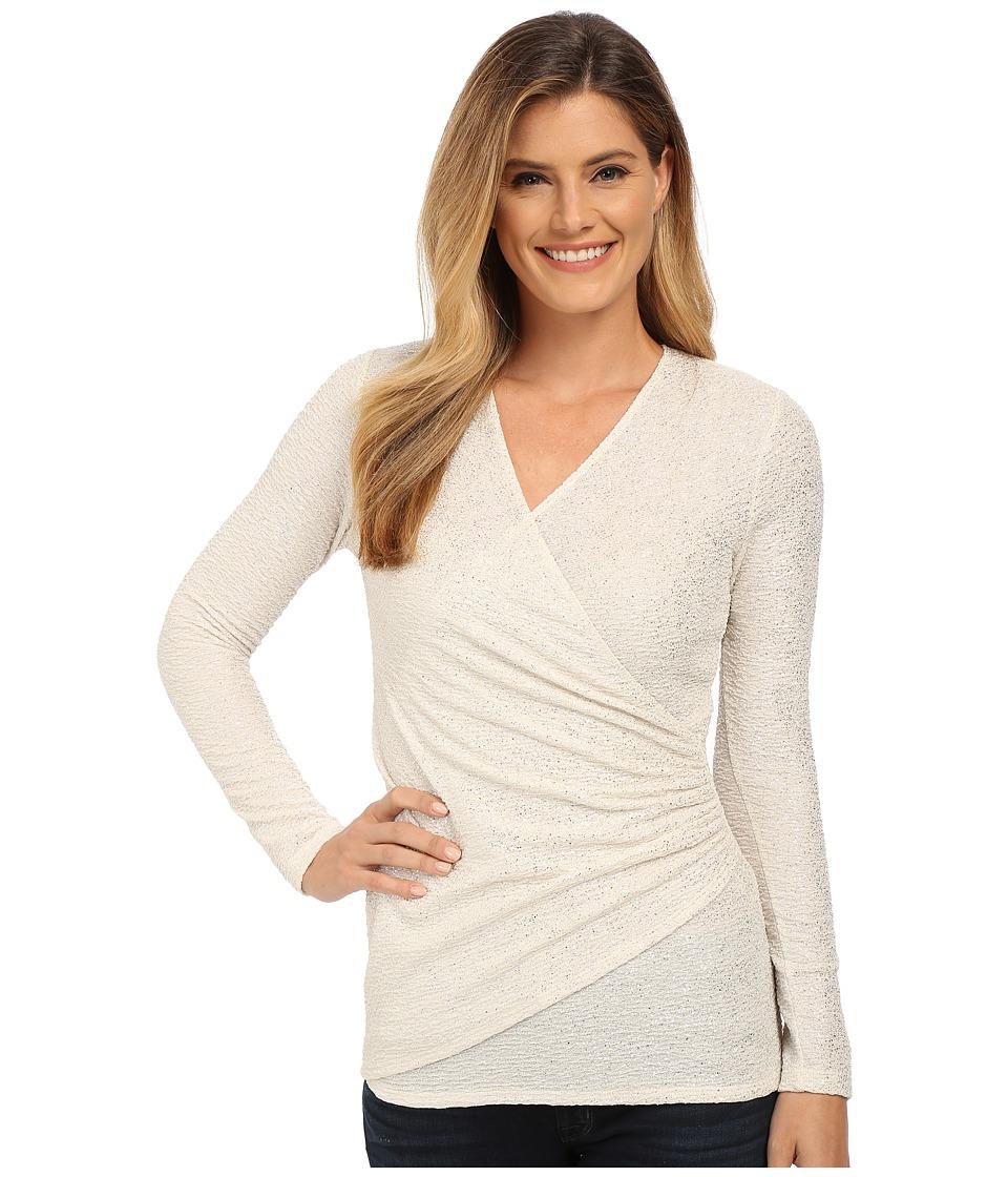 Karen Kane - Sparkle Faux Wrap Top (Cream) Women's Clothing