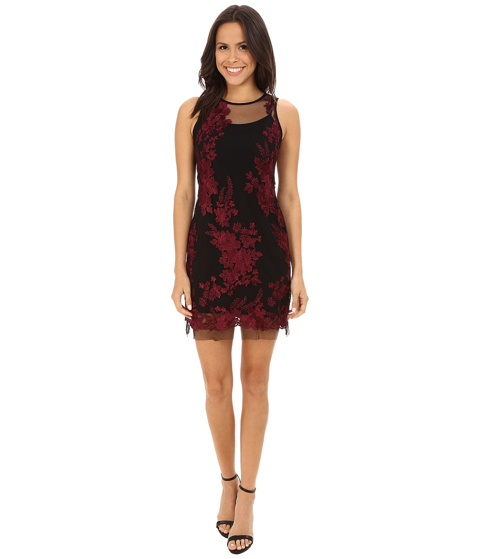 Karen Kane Embroidered Tulle Dress (Wine) Women