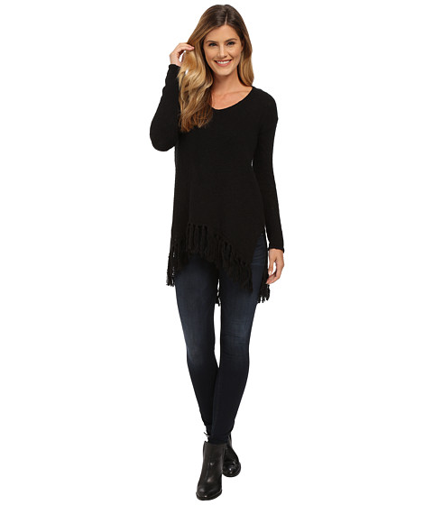 Karen Kane - Fringe V-Neck Sweater (Black) Women's Sweater