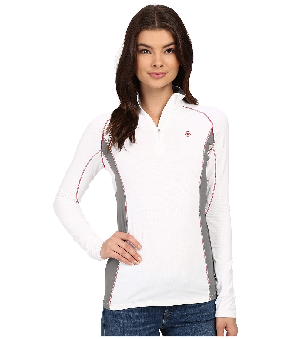Ariat - Triumph Factor 1/4 Zip (White) Women's Clothing
