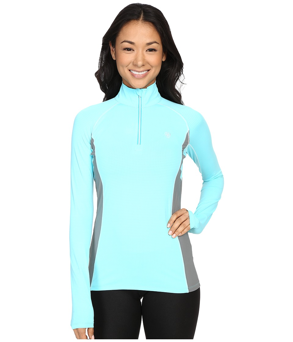 Ariat - Triumph Factor 1/4 Zip (Miami Aqua) Women's Clothing