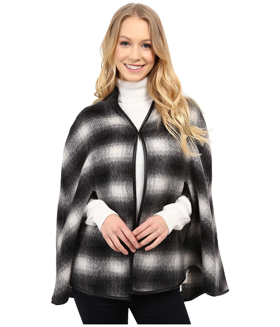 Karen Kane - Plaid Cape (Black/Gray) Women's Clothing